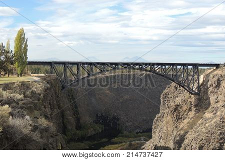 railroad bridge across Crooked River Gorge in Central Oregon during the day