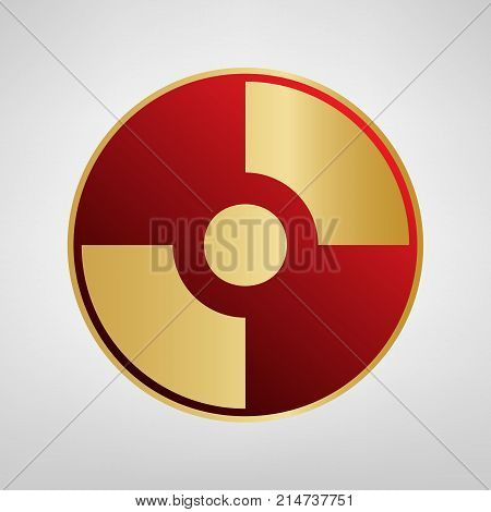 Vector CD or DVD sign. Vector. Red icon on gold sticker at light gray background.