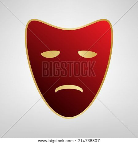 Tragedy theatrical masks. Vector. Red icon on gold sticker at light gray background.