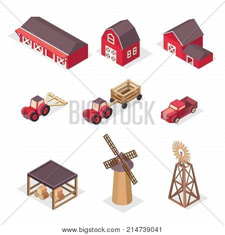 Vector isometric farm icons red barn, house, tractor, pickup, harvesting machine, windmill, hay, cart. Agricultural and farming landscape. Illustration agriculture and farm business