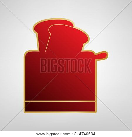 Toaster simple sign. Vector. Red icon on gold sticker at light gray background.