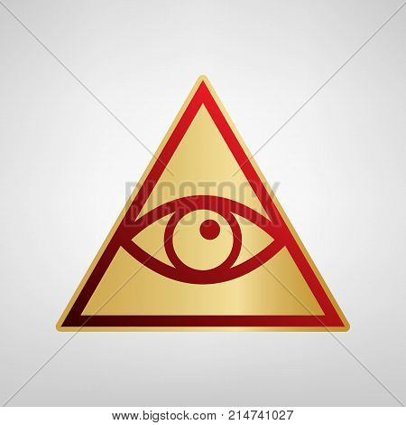 All seeing eye pyramid symbol. Freemason and spiritual. Vector. Red icon on gold sticker at light gray background.