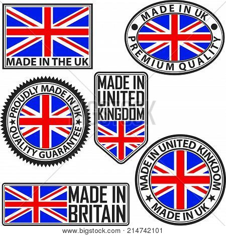 Made in UK label set with flag made in the UK vector illustration