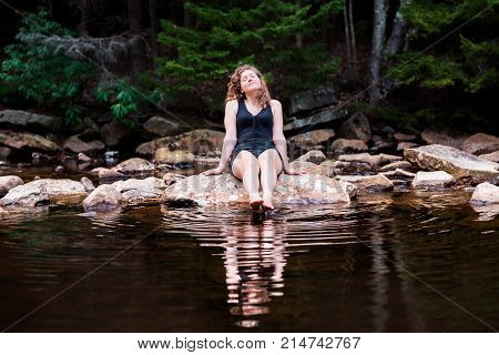 Young Woman Enjoying Nature On Peaceful, Calm Red Creek River In Dolly Sods, West Virginia During Su
