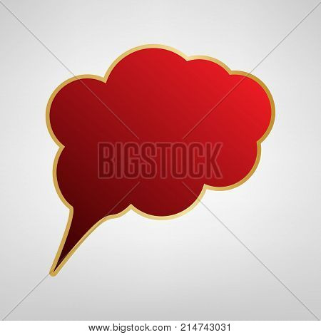 Speach bubble sign illustration. Vector. Red icon on gold sticker at light gray background.