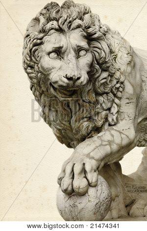 Lion at piazza della Signoria in  Florence (Italy)