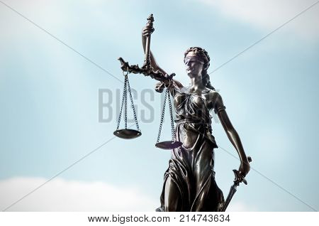 Lady Justice, Themis, Statue Of Justice On Sky Background