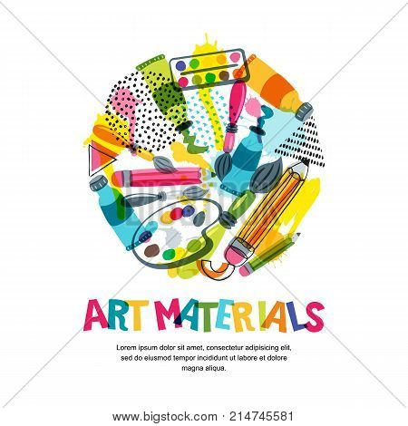 Art Materials For Craft Design And Creativity. Vector Isolated Illustration In Circle Shape. Banner,