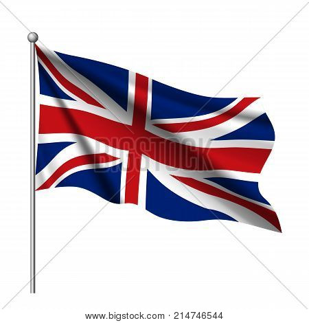Waving flag of United Kingdom state. Flag of the UK of Great Britain and Northern Ireland, Vector 3d icon isolated on white background