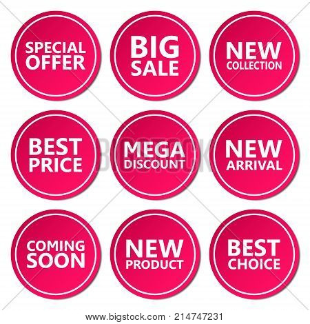 Sale discount sticker set. Commercial collection of color offer labels. Different commercial inscriptions in circle badges. Vector isolated illustration.
