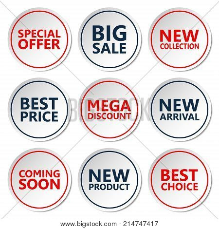 Sale discount sticker set. Commercial collection of white offer labels. Different commercial inscriptions in circle badges. Vector isolated illustration.