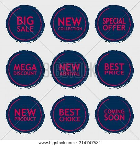 Sale discount sticker set. Commercial collection of color offer labels in grunge style. Different commercial inscriptions in circle badges. Vector isolated illustration.