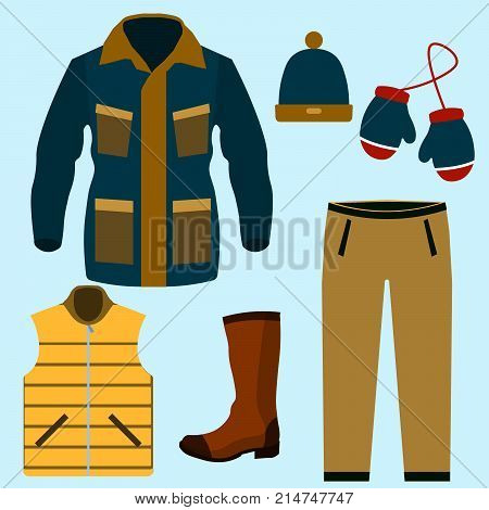 Set of warm winter clothes design. Scarf and winter fashion, winter hat, winter coat, cloth and hat, jacket and glove, coat and boot, outerwear seasonal illustration EPS