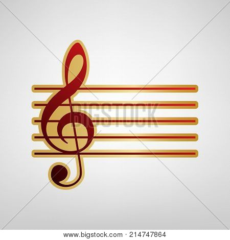 Music violin clef sign. G-clef. Vector. Red icon on gold sticker at light gray background.