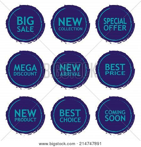 Sale discount sticker set. Commercial collection of color offer labels in grunge style. Different commercial inscriptions in circle badges. Vector isolated illustration