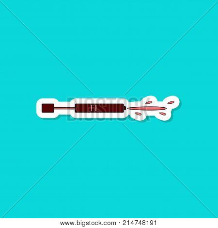 paper sticker on stylish background of Kids toy water gun