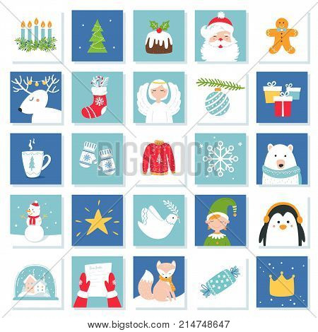 Christmas and New Year Celebration Symbols. Advent Calendar or Bingo Game Cards. Vector Set.