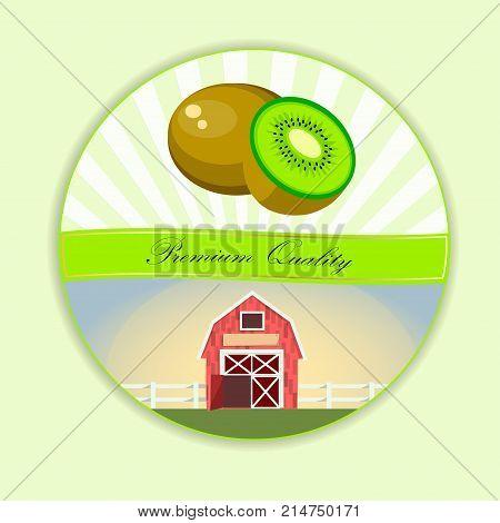 Vector square label, kiwi jam, sauce or juice label. Ripe kiwi for food and drink label, tropical dessert or exotic juice packaging design. Kiwi farm