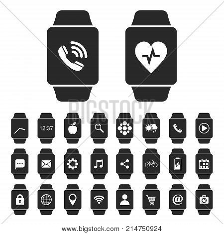 Smart watch icon set with apps. Different smart watch screens with applications and notification. Vector isolated illustration.