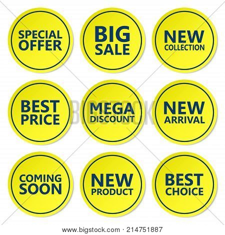 Sale discount sticker set. Commercial collection of yellow offer labels. Different commercial inscriptions in circle badges. Vector isolated illustration.