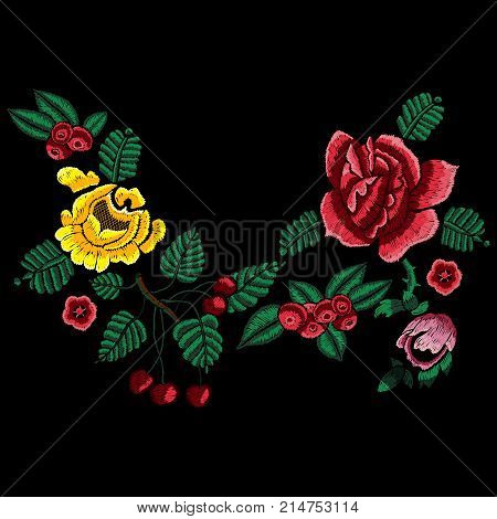 Embroidery style neckline pattern with simplify flowers. Vector embroidered traditional floral design for fashion wearing.
