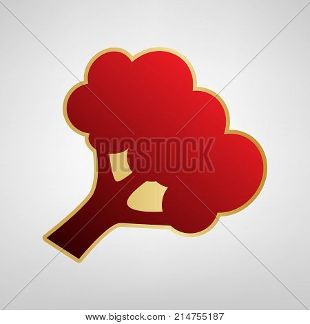 Broccoli branch sign. Vector. Red icon on gold sticker at light gray background.
