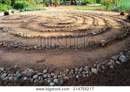 Maze of rocks creating a Labyrinth taken at a Zen Meditation Garden