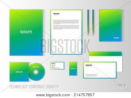Corporate identity template for technology company, modern stationery template design for business. Brochure cover, letterhead, envelope, business card, pen, CD cover. Minimalistic brand identity.