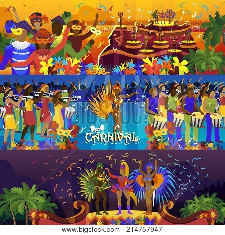 Vector brazil carnival rio festival celebration brazilian girls dancers samba party carnaval traditional costume south holiday dancer illustration banner.