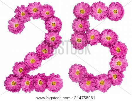 Arabic Numeral 25, Twenty Five, From Flowers Of Chrysanthemum, Isolated On White Background