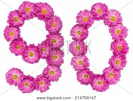 Arabic Numeral 90, Ninety, From Flowers Of Chrysanthemum, Isolated On White Background