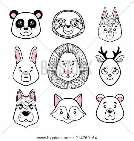 set of cute animal faces black white. panda sloth squirrel bunny lion deer dog fox bear in scandinavian style. design holiday greeting cards invitations print t-shirts home decor posters