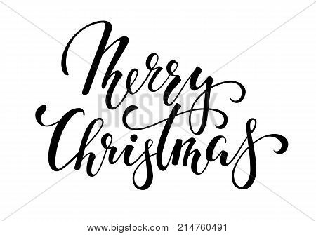 Merry Christmas. Hand drawn creative calligraphy and brush pen lettering. design for holiday greeting cards and invitations of the Merry Christmas and Happy New Year banner logo seasonal holiday.