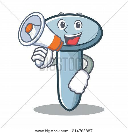 With megaphone nail character cartoon style vector illustration
