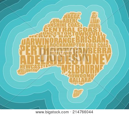 Map of Australia made from cities list. Blue and bright turquoise sea, yellow sand background