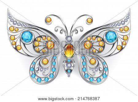 Silver jewelry butterfly decorated with amber and larimar on a white background. Design of jewelry. Larimar and Amber