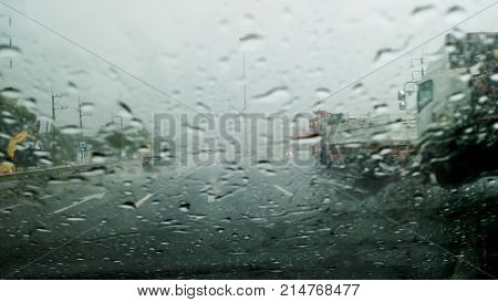 Heavy rain on the freeway bridge. Heavy rain on the freeway bridge. Blur