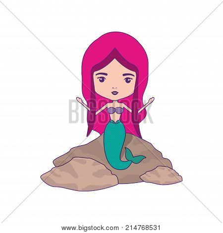 mermaid in a rock and magenta hair with purple contour vector illustration