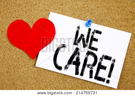 Conceptual Hand Writing Text Caption Inspiration Showing We Care Concept For Career Assistance Helpl