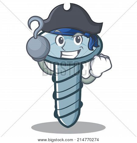 Pirate screw character cartoon style vector illustration