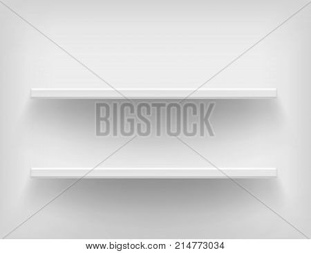 Realistic white shelves. Vector shelves on white background. Voluminous racks with a shadow. Vector illustrations of empty store stand in the supermarket, front view