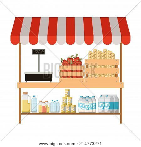 supermarket shelf with weighing machine and sunshade colorful with foods and beverages vector illustration