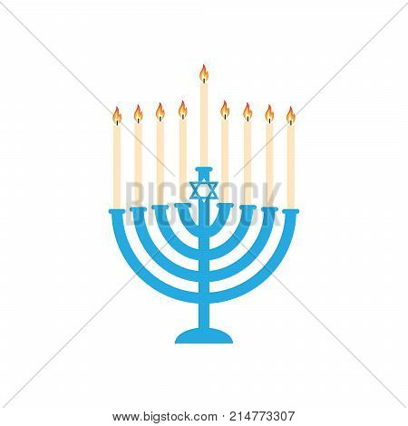 Menorah hanukkah icon. Jewish Holiday symbol menorah - light candelabrum with candles silhouette, candlestick isolated white background. Flat web sign, Israel Holiday symbol, vector sticker concept logo, label card