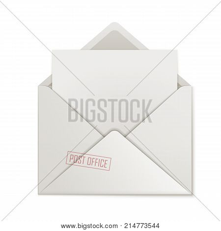 Open envelope, clean paper, isolated. Cover close-up with letter inside. Uncovered message, blank form, vector illustration