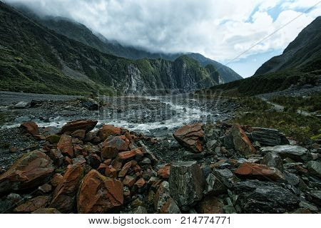 beautiful scenic of franz josef glacier west coast new zealand