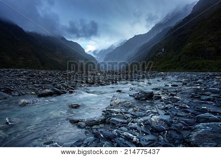 beautiful scenic of franz josef glacier national park southland new zealand most popular traveling destination
