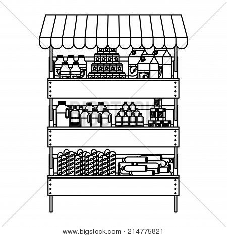 supermarket shelf with sunshade and foods and beverages in monochrome silhouette vector illustration
