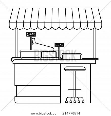 supermarket shelf with weighing machine and cash register point with sunshade in monochrome silhouette vector illustration
