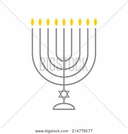 Menorah hanukkah icon. Jewish Holiday symbol menorah - light candelabrum with candles silhouette, candlestick isolated white background. Israel Holiday symbol.