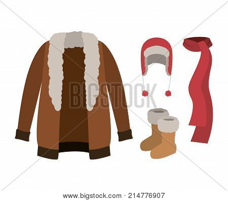 winter clothes with fur coat and scarf and wool cap and boots over white background vector illustration